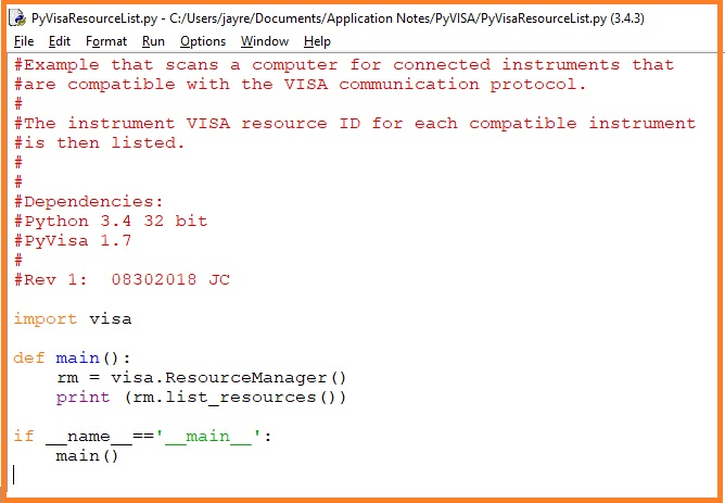 Programming Example: List connected VISA compatible